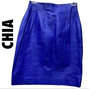 CHIA Leather Skirt,Royal Blue Size 6